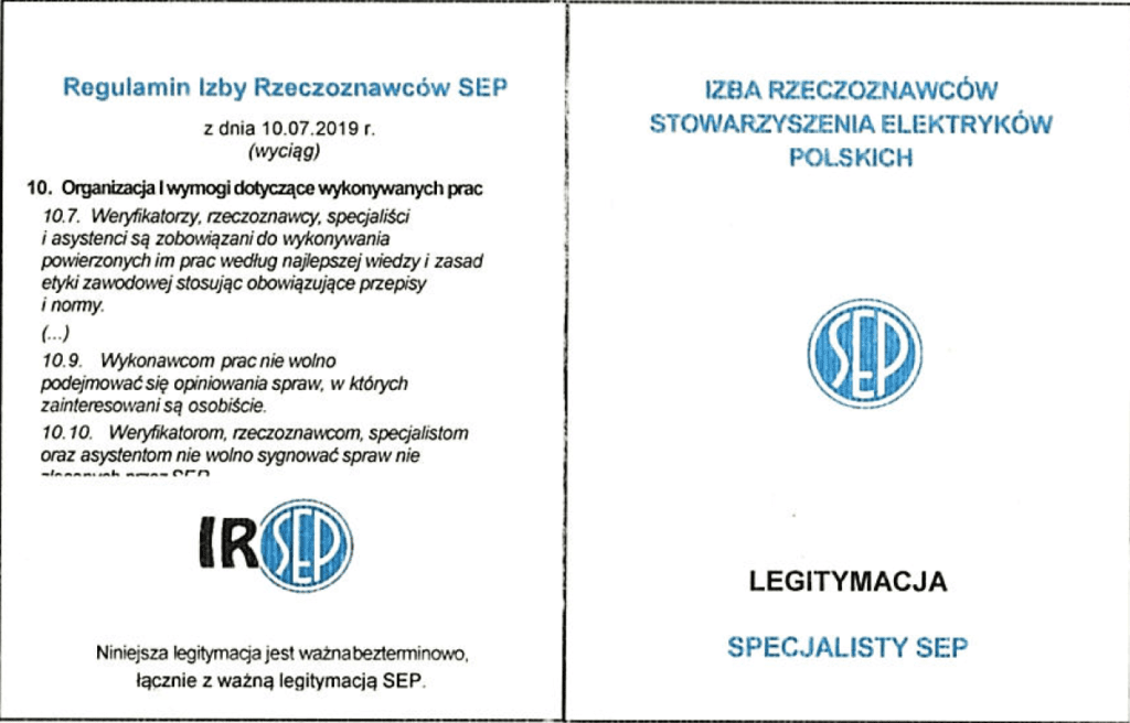 Legitymacja Specjalisty SEP
